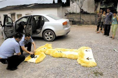 沙区松鹤陵园,民警在事发现场勘查 记者 李化 摄
