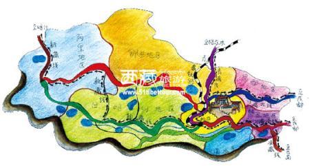 四川西藏手绘地图