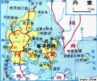 日德兰半岛地图;
