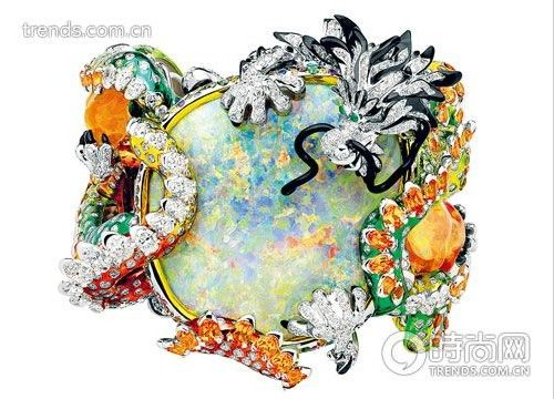 Dior 高级珠宝18K 金镶彩宝龙型贵白欧泊手镯