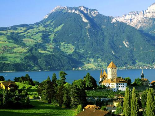瑞士城镇风景黑白
