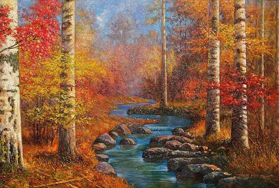 枫树世界名画油画