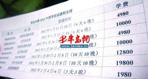 国考面试培训要价1.98万 负责人称生源稳定
