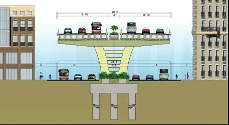 东二环高架桥效果图。