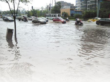 大雨过后,翠柏大道附近成汪洋。