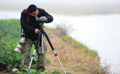 广汉鸭子河,沈尤通过观鸟镜寻找红胸黑雁。(资料照片)