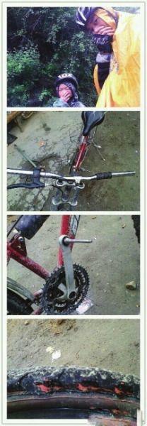 孩子的自行车没有刹车。