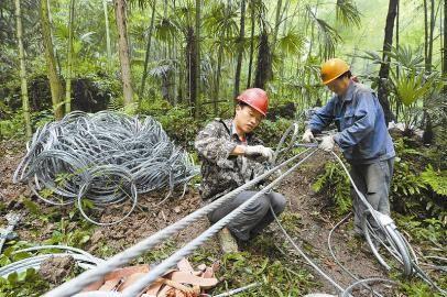 5月14日,工程人员在天全县小河乡响水溪村黑石山尖峰顶地质灾害隐患点架设防护网,以有效拦截飞石,为泥石流做缓冲。 本报记者 肖雨杨 摄