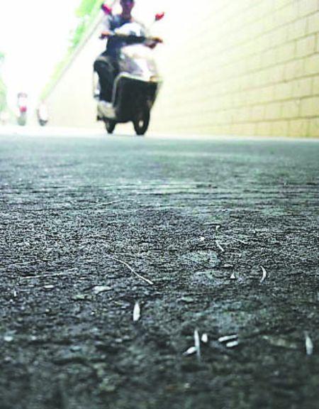 昨日,武青立交下,路面密布的铁钉已被敲弯