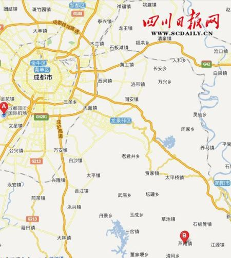 区位示意图:A为成都双流机场,B为简阳市芦葭镇
