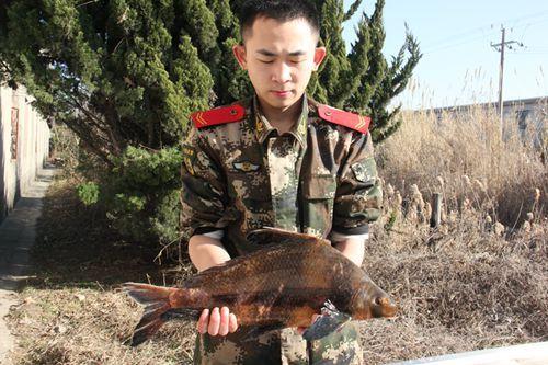 图为一名战士正捧着刚救助的胭脂鱼。