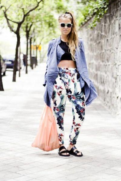 """鞋子来搭配花色的裤子,让你从此远离""""土妞""""名号,更时尚.   高清图片"""