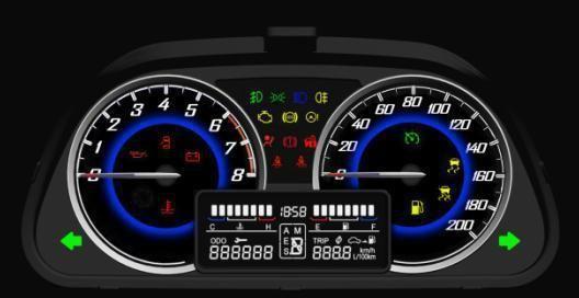 宝骏730三叉戟浮动式方向盘集成了很多功能,左侧为音响按键,右侧是