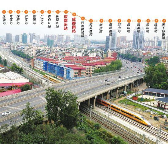 9月13日上午11:05,测试车驶过成绵乐客专绵阳双碑立交桥。 制图/姜宣凭