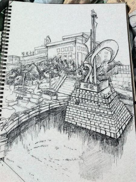 校园雕塑手绘图片_清华大学雕塑图片