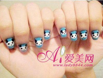 超可爱的熊猫美甲图案教程