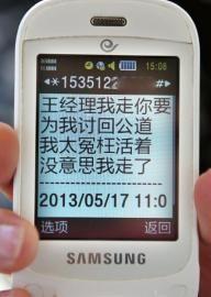 """在5月17日发给同事的短信中,王成英称自己""""太冤枉"""""""